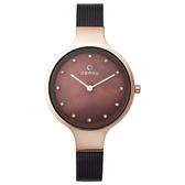 OBAKU 星光眷戀米蘭時尚腕錶-玫瑰金框x咖啡