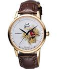 Ogival 愛其華 花繪經典彩繪機械腕錶-花卉版x玫塊金框 1929-24.7AGR皮