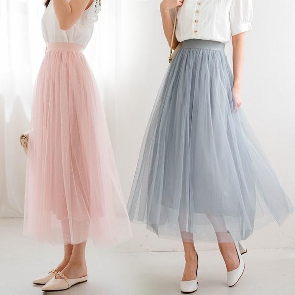 MIUSTAR 浪漫唯美!三層網紗鬆緊腰紗裙(共3色)【NJ1830RZ】預購