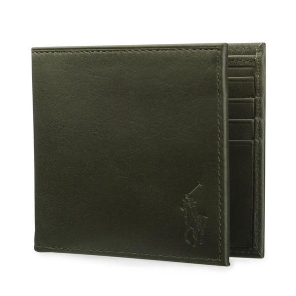 RALPH LAUREN POLO 經典壓印馬球LOGO素面皮革短夾(墨綠色)780215-5