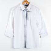 【MASTINA】條紋蝴蝶結五分袖暗扣襯衫-白 秋冬嚴選