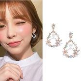 耳環 奢華繽紛橢圓花圈彩鑽鋯石 925銀針 耳環