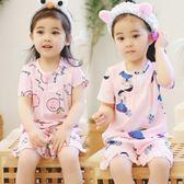 兒童睡衣女童短袖夏季綿綢寶寶親子裝棉綢家居服夏天小孩薄款套裝