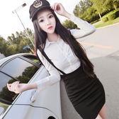 VK精品服飾 韓系OL修身顯瘦襯衫包臀背帶針織套裝長袖裙裝