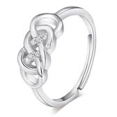 925純銀戒指-雙環節鑲鑽精緻生日情人節禮物女飾品73af13【巴黎精品】