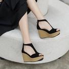 厚底涼鞋 坡跟涼鞋女魚嘴夏季2021新款簡約女士百搭性感顯瘦防水臺厚底鬆糕