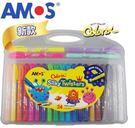 【韓國 AMOS】24色 塑膠盒水蠟筆 ( 細桿)→美國crayola 美勞用品 輝柏 團購 批發 禮品