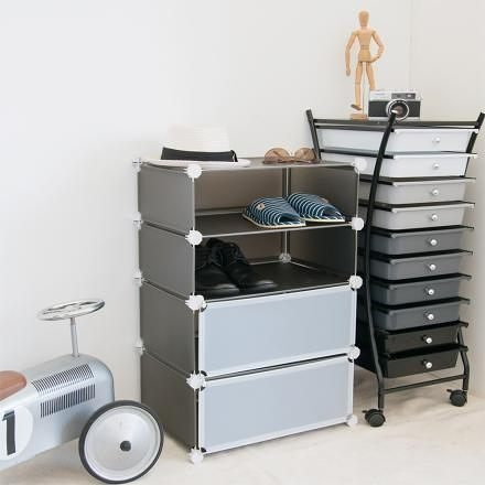 【H&R安室家】輕巧多變四層防塵鞋櫃(黑色)-HP79