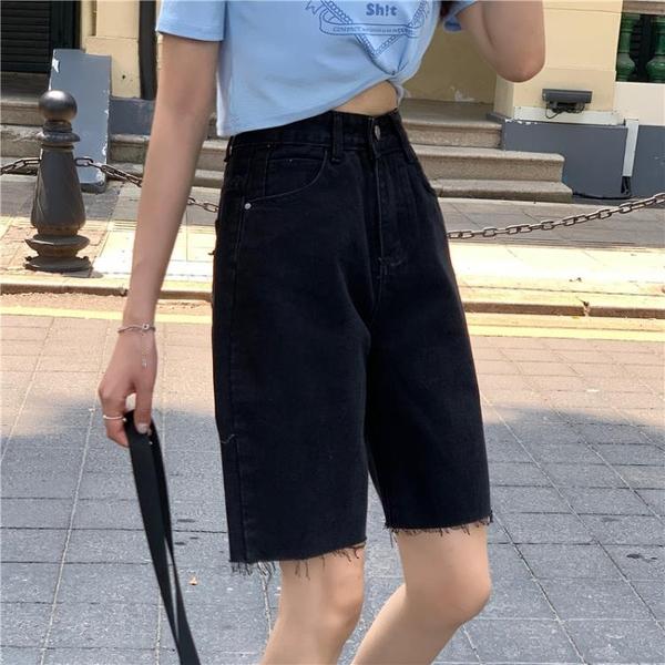 爱心牛仔五分裤女运动骑行裤大码高腰显瘦毛边短裤1F127.依品國際