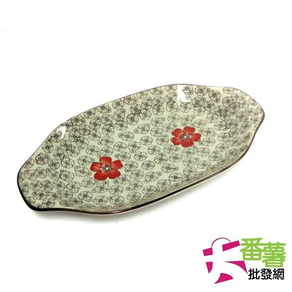 12吋雙耳陶瓷烤盤 梅花紅富貴 [大番薯批發網 ]