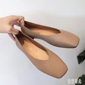 平底單鞋 2019秋季新款韓版奶奶鞋淺口百搭平底單鞋女鞋方頭平跟鞋 zh8365【歐爸生活館】