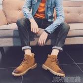 馬丁靴男冬季新款英倫男士休閒短靴潮流工裝靴百搭高筒加絨棉靴 簡而美