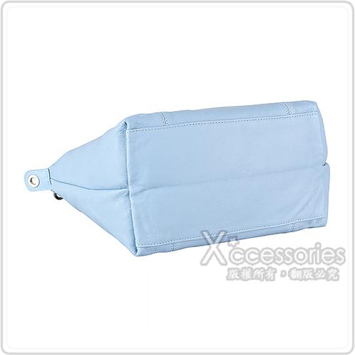 LONGCHAMP LE PLIAGE CUIR壓紋LOGO小羊皮摺疊手提斜背水餃包(小/淡藍)