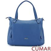 CUMAR 荔枝紋牛皮雙拉鍊托特包-藍色
