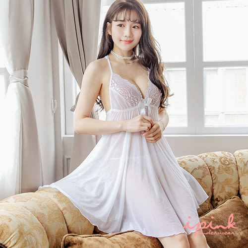i PINK 詩情愛意 奢華蕾絲美背網紗連身裙睡衣(白)