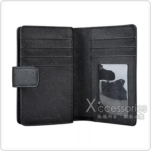 MK MICHAEL KORS JET SET銀字LOGO PVC 6卡扣式中夾(黑)