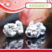銀鏡DIY S999純銀材料配件/3D硬銀招財銅錢造型財字Q版貔貅寶寶墜飾/隔珠-小款~適合手作幸運繩
