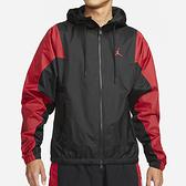 NIKE Jordan 男裝 外套 連帽 風衣 拼接 透氣 防潑水 口袋 刺繡 黑 紅【運動世界】DA9833-010