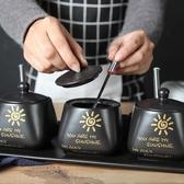 創意陶瓷調料盒三件套裝帶勺蓋 油鹽醬醋調味罐 廚房用品調味瓶罐