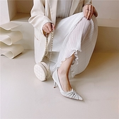 手工真皮女鞋34-40 2021韓版抓皺尖頭高跟鞋 通勤鞋 裡外全皮 ~2色
