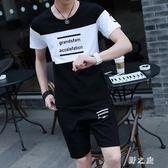 中大尺碼運動套裝 夏季休閒跑步運動衣服短袖男裝兩件套裝短褲韓版 nm20999【野之旅】
