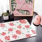 【24H出貨 】 網美文青 浪漫玫瑰 美彩超吸水珪藻土地墊 衛浴 踏墊 浴室 廁所 生日禮物