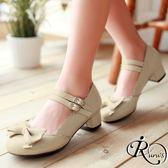 韓系甜美蝴蝶結裝飾雙扣環設計娃娃低跟包鞋/35-39碼/3色 (RX0091-06) iRurus 路絲時尚