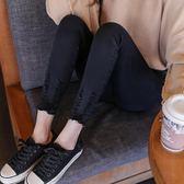 韓版黑色毛邊高腰破洞牛仔緊身褲-艾尚精品 艾尚精品