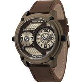 【台南 時代鐘錶 POLICE】義式潮流 金屬工業風格雙時區時尚腕錶 15268JSK-53 皮帶 金 50mm