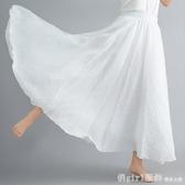 夏新款復古森女文藝雙層大擺純色顯瘦荷葉邊棉麻半身裙女長裙子 俏girl