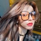 復古茶色墨鏡女個性下半框眼鏡網紅街拍ins大框圓臉顯瘦太陽鏡潮 小時光生活館