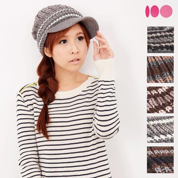 【MIT台灣製】雙層帽眉+發熱紗 針織毛線帽(五色)