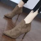 裸靴 細跟高跟鞋女2020新款秋季靴子小個子短筒百搭尖頭馬丁靴絨面短靴 降價兩天