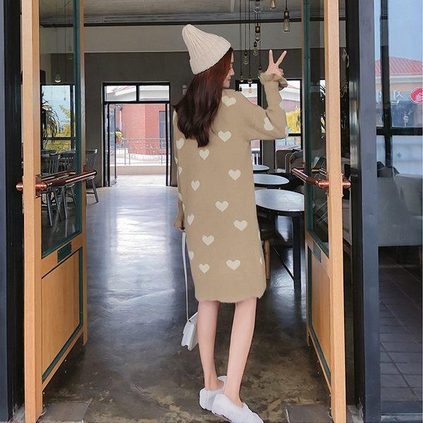 梨卡★現貨 - 秋冬愛心中長版純色保暖針織衫針織連身裙連身長裙DR018