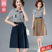 棉麻格紋洋裝字母收腰排釦雙口袋(2色) M~3XL【936047W】【現+預】-流行前線-