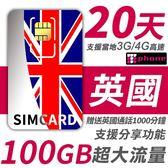 【TPHONE上網專家】英國 20天 100GB超大流量 4G高速上網 贈送當地通話 1000分鐘