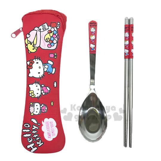 〔小禮堂〕Hello Kitty 不鏽鋼筷匙組附收納袋《紅.朋友.糖果罐》環保筷.環保餐具 4712977-46476