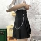 工裝短裙女夏酷百褶裙a字學生高腰顯瘦辦事傘裙日繫半身裙褲 洛小仙女鞋
