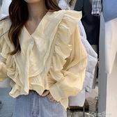 V領荷葉邊打底衫女2021年早秋季新款韓版設計感甜美氣質顯瘦上衣 快速出貨