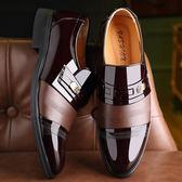 正裝皮鞋 商務男鞋子 漆皮鞋皮鞋英倫商務正裝黑棕男皮鞋《印象精品》q1719