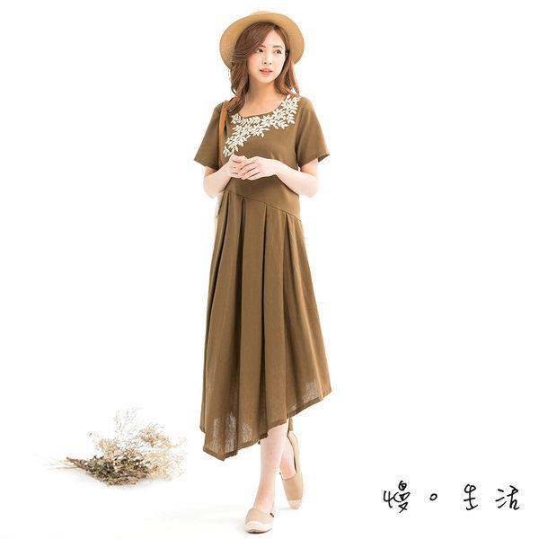 樹葉刺繡百摺棉麻連身裙(杏/茶)-F【慢。生活】