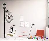 壁貼【橘果設計】藝術路燈 靜音壁貼時鐘 不傷牆設計 牆貼 壁紙裝潢
