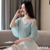一字領雪紡衫吊帶 大碼女短袖2019夏季新款韓版T恤時尚寬鬆顯瘦露肩上衣 QX13765 『寶貝兒童裝』