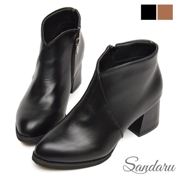 短靴 車線V口側拉鍊尖頭中跟靴-黑