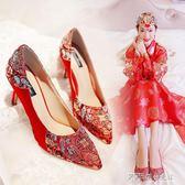 婚鞋新娘鞋中式秀禾鞋高跟鞋紅色敬酒鞋細跟刺繡上轎鞋  探索先鋒