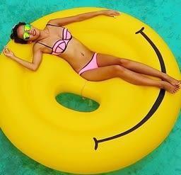 現貨★梨卡 - 甜美超大笑臉微笑笑容浮圈浮床游泳圈救生圈 - 歐美暢銷另售獨角獸彩虹馬浮板M076