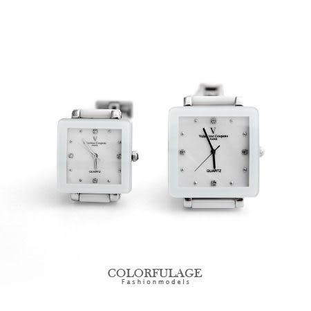 Valentino范倫鐵諾 珍珠貝面錶盤設計精密白陶瓷方形手錶腕錶 柒彩年代【NE1248】原廠公司貨