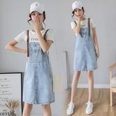 新款韓版牛仔洋裝 修身顯瘦吊帶裙 一字領a字連身裙森女系背帶裙