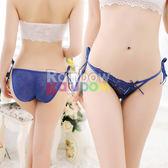 內褲 性感內褲 -狂愛玫瑰透膚綁帶內褲(深藍)【滿千87折】快速出貨
