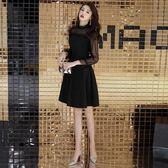 618年㊥大促 洋裝小禮服女2019新款優雅蕾絲名媛聚會晚宴黑色短款顯瘦連衣裙冬